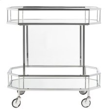 Silva 2 Tier Octagon Bar Cart - Silver / Mirror