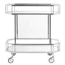 Silva 2 Tier Octagon Bar Cart - Silver / Mirror