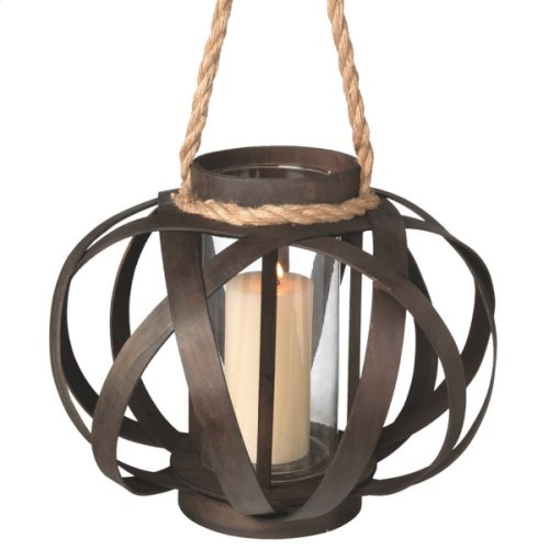 Large Open Weave Pillar Lantern with Rope Handle