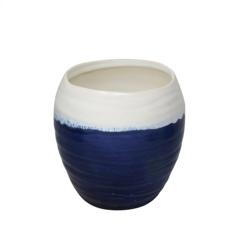 "Ceramic Planter 6.5"", White /blue"