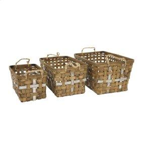S/3 Woven Rectangular Baskets,brown