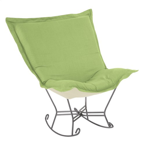 Scroll Puff Rocker Linen Slub Grass Titanium Frame