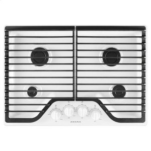 30-inch Gas Cooktop with 4 Burners - white - WHITE