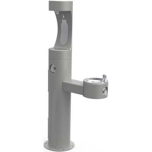 Elkay Outdoor EZH2O Bottle Filling Station Bi-Level Pedestal, Non-Filtered Non-Refrigerated Gray