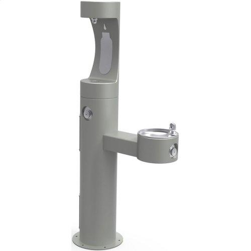 Elkay Outdoor EZH2O Bottle Filling Station Bi-Level Pedestal, Non-Filtered Non-Refrigerated Gray