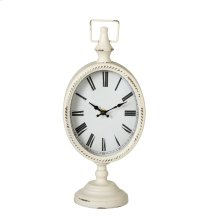 White Oval Desk Clock on Stand