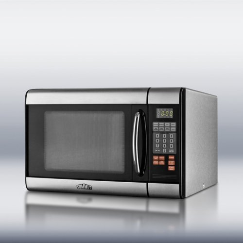 Stainless steel microwave oven with digital touch controls