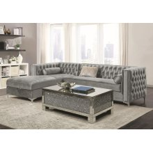 Bellaire Contemporary Silver and Chrome Sectional