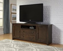 "68"" Dark Pine Entertainment Console - Pine, Dark Pine and Black Finish"