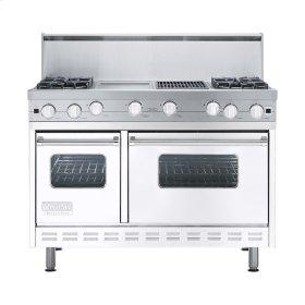 "White 48"" Open Burner Commercial Depth Range - VGRC (48"" wide, four burners 12"" wide griddle/simmer plate 12"" wide char-grill)"