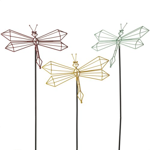 Colorful Angled Dragonflies with Spring Garden Stakes