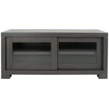 Davis Sliding Door TV Cabinet - Dark Grey/ Charcoal/ Woodgrain