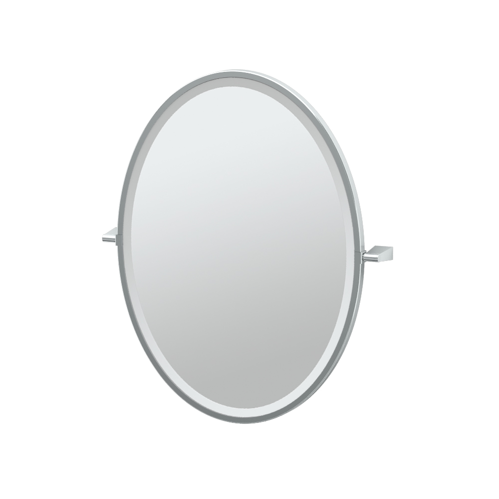 Bleu Framed Oval Mirror in Chrome
