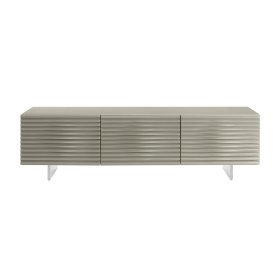 The Moon High Gloss Light Gray Lacquer Entertainment Center