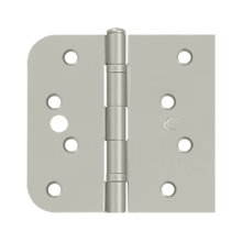 "Special Hinge for Fiber Glass Doors, 4"" x 4 1/4"" x 5/8"" Radius x SQ, Ball Bearings, Security Stud - Brushed Nickel"