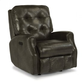 Devon Leather Power Recliner with Power Headrest and without Nailhead Trim