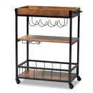 Baxton Studio Cerne Vintage Rustic Industrial Oak Brown and Black Finished Mobile Metal Bar Cart with Wine Bottle Rack Product Image