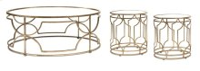 IK Sherine Mirror Top Coffee Table & 2 End Tables - Set of 3