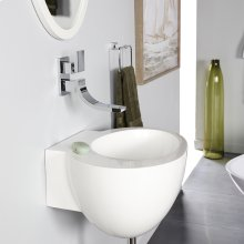 "Wall-mount solid surface Bathroom Sink with an overflow. Three faucet holes in 8"" spread."