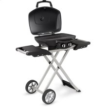TravelQ 285 X Red Portable Gas Grill and Scissor Cart with Griddle