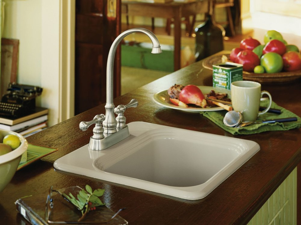 Hidden · Additional White Top Mount Bar Sink With 2 Faucet Holes