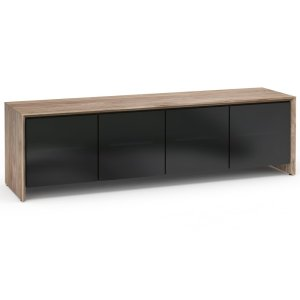 Salamander DesignsBarceloan 245, Quad-Width AV Cabinet, Natural Walnut with Black Glass Doors