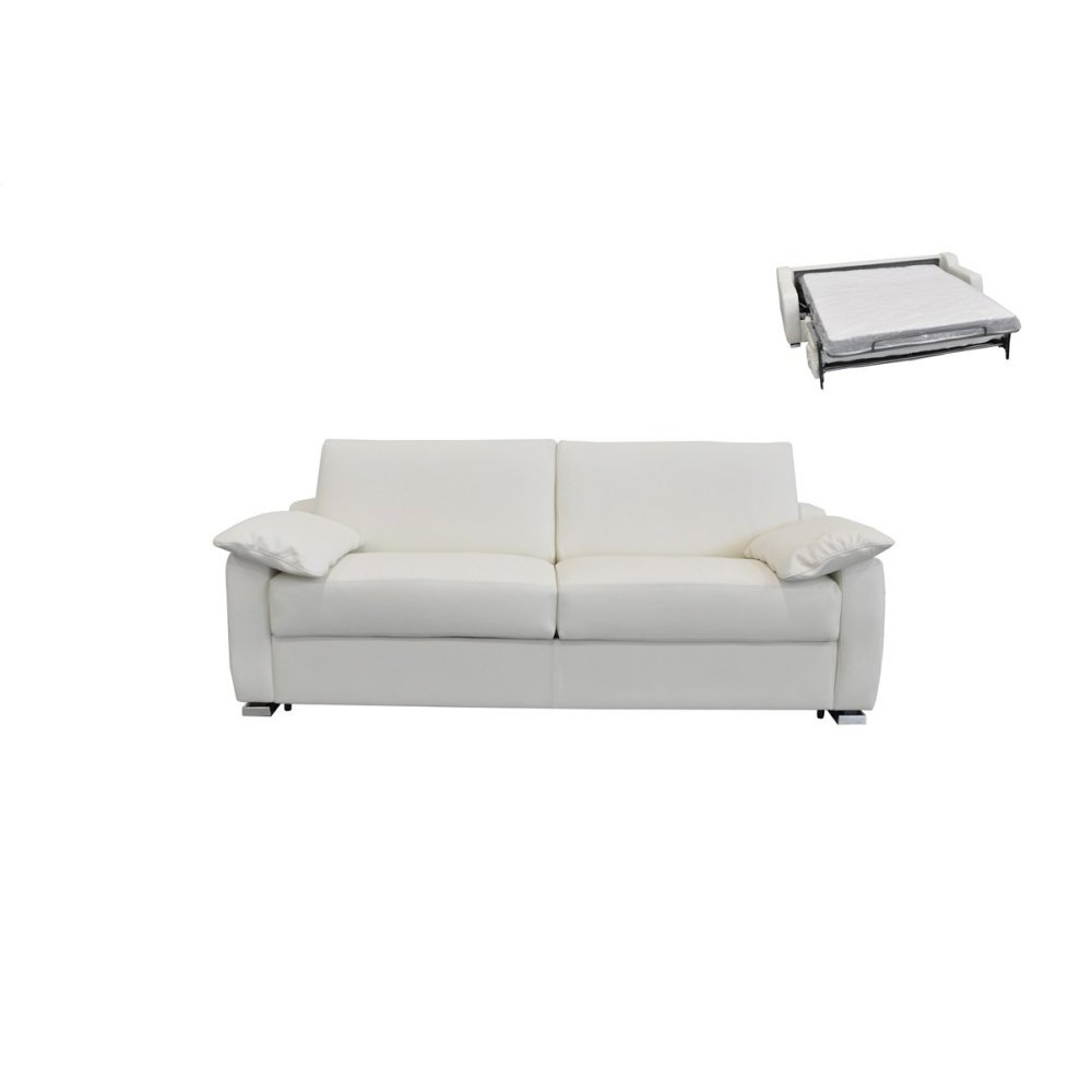 Estro Salotti Dalia Italian Modern White Leather Sofa Bed