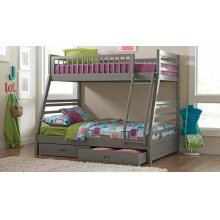 Twin / Full Wood Bunkbed with Storage Drawers (Grey)