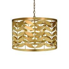 Large Leaf Motif Drum Pendant In Gold Leaf