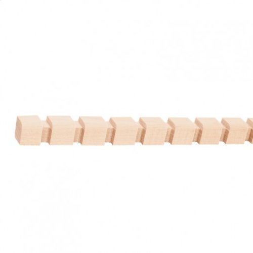 "5/8"" x 1/2"" Dentil with 1/4"" gap and 5/8"" teeth *fits into DC1 Crown Moulding* Species: Poplar. Priced by the linear foot and sold in 8' sticks in cartons of 120' feet."