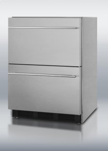 Two-drawer stainless steel all-refrigerator with auto defrost for built-in or freestanding use