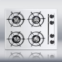 "24"" wide cooktop in white, with four burners and battery start ignition"
