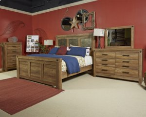 Ladimier Mansion Panel Bed King - Medium Brown