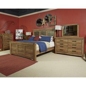 Ladimier Mansion Panel Bed King - Medium Brown