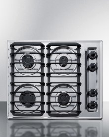 "24"" Wide Sealed Burner Gas Cooktop In Chrome With Cast Iron Grates and Spark Ignition, Made In the USA"
