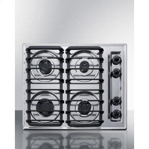 """Summit24"""" Wide Sealed Burner Gas Cooktop In Chrome With Cast Iron Grates and Spark Ignition, Made In the USA"""