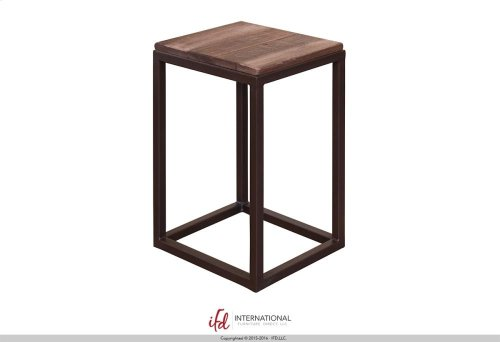 End Table w/Wooden Top & Iron base