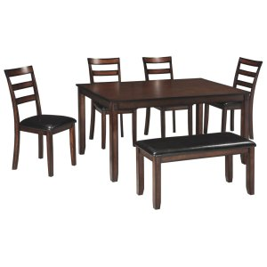 Ashley FurnitureSIGNATURE DESIGN BY ASHLECoviar Dining Room Table and Chairs With Bench (set of 6)