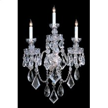 Traditional Crystal 3 Light Clear Crystal Chrome Sconce