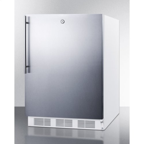 Freestanding ADA Compliant Refrigerator-freezer for General Purpose Use, W/dual Evaporator Cooling, Lock, Ss Door, Thin Handle, White Cabinet