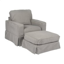 Sunset Trading Americana Slipcovered Chair and Ottoman - Color: 391094