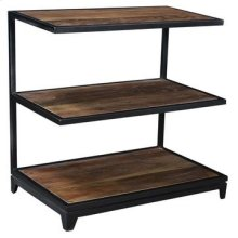 Bengal Manor Iron and Acacia Wood 3 Tier Side Table