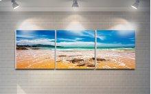 "3 Pieces Printed Art ""beach"" Composition"