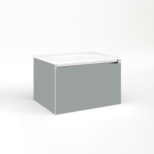 """Cartesian 24-1/8"""" X 15"""" X 18-3/4"""" Single Drawer Vanity In Matte Gray With Slow-close Full Drawer and No Night Light"""