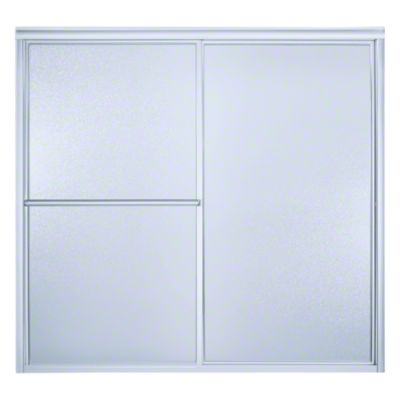 """Deluxe Sliding Bath Door - Height 56-1/4"""", Max. Opening 57-3/4"""" - Silver with Pebbled Glass Texture"""