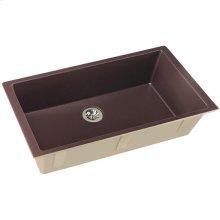 "Elkay Quartz Luxe 35-7/8"" x 19"" x 9"" Single Bowl Undermount Kitchen Sink with Perfect Drain, Chestnut"