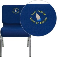 Embroidered HERCULES Series 21''W Stacking Church Chair in Navy Blue Fabric - Silver Vein Frame