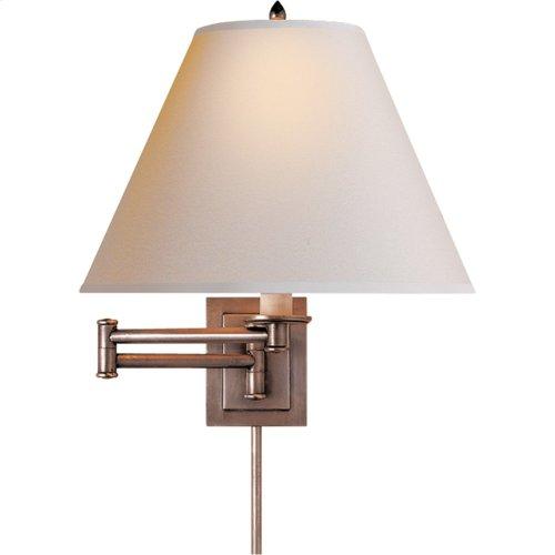 Visual Comfort S2500AN-NP Studio Primitive 18 inch 60 watt Antique Nickel Swing-Arm Wall Light in Natural Paper