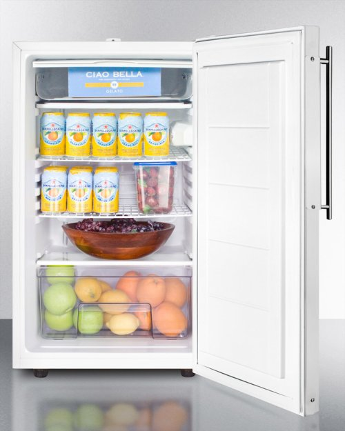 """Commercially Listed 20"""" Wide Built-in Undercounter Refrigerator-freezer With A Lock, Custom Door for Slide-in Panels and White Exterior"""