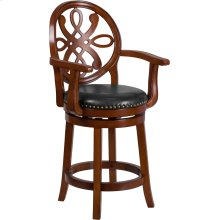 26'' High Brandy Wood Counter Height Stool with Arms, Carved Back and Black Leather Swivel Seat